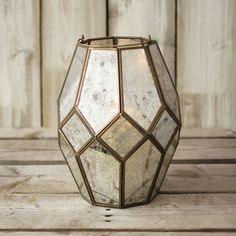 Lantern, Glass Candle Shelter, 10 in tall x 7 in wide, Mirror, Gold