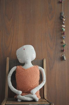 Little Buddha doll for newborn baby - Hand embroidered with antique silk threads by Miga de Pan