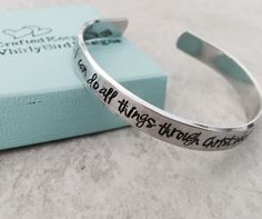 SALE I can do all things through Christ who strengthens me personalized cuff bracelet Philippians 4:13 by WhirlyBirdDesigns on Etsy https://www.etsy.com/listing/248999776/sale-i-can-do-all-things-through-christ
