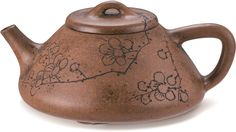 An inscribed Yixing Stoneware 'Prunus' 'Stone Dipper' Teapot and Cover By Yang Pengnian, incised by Qiao Zhongxi, Qing Dynasty, Daoguang Period, dated to the Jiachen Year (in accordance with Chinese Arts And Crafts, Chinese Tea Set, Yixing Teapot, Pottery Teapots, Chinese Ceramics, Prunus, Dipper, Chocolate Pots, Qing Dynasty