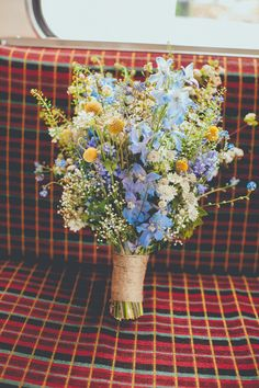 Wild Flower Blue Yellow Bouquet Bride Bridal Fun Enchantment Under The Sea Dance Blue London Wedding http://bigbouquet.co.uk/