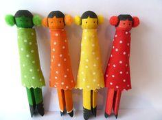 Set of four colourful hand made peg dolls by MamtaMertner on Etsy, £15.00