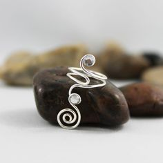 Wire Wrapped Spiral Swirl Adjustable Knuckle Ring