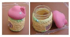 frasquito decorado con porcelana fría. Desserts, Cold, Mason Jars, Cold Porcelain, Hipster Stuff, Crafts, Postres, Deserts, Dessert