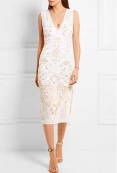 Midi white dress with gold beaded overlay