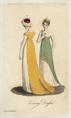 Lady's Museum, Evening Dresses, February 1803. I love the asymmetry of the green one! Very toga-esque!
