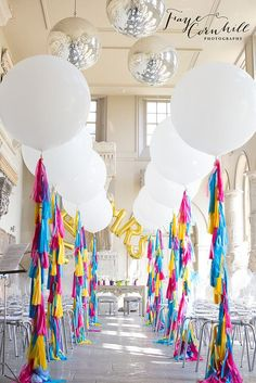 Lit wedding aisle decor with balloons and fringed tails. Jumbo Balloons, Giant Balloons, White Balloons, Round Balloons, Large Balloons, Colourful Balloons, Letter Balloons, Helium Balloons, Confetti Balloons