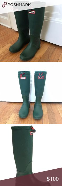 Hunter Tour Canvas in hunter green 😍 Bought these Hunter tour canvas boots three years ago from Nordstrom for Bonnaroo and then it didn't rain ☔️. Wore them a few times since, but they are in excellent condition. Listing a ton more shoes & clothes today, follow me for updates! ⚡️✨ these are a 6.5 Hunter Boots Shoes Winter & Rain Boots