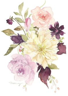 Original Watercolor Painting Dahlia Bouquet by NooneyArt on Etsy