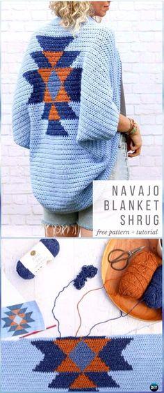 Crochet Navajo Blanket Shrug Free Pattern - Crochet Women Shrug Cardigan Free Pattern