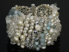 Crochet Wire Silver Freshwater Pearls and by LaFleurMystique, $160.00