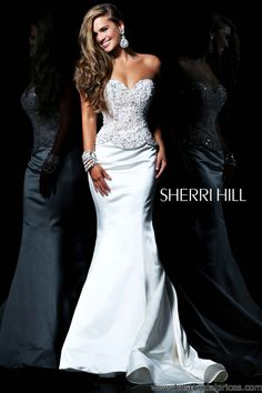 Sherri Hill White and Gold Dress with Feathers | Dress me ...
