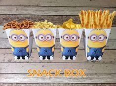 INSTANT DOWNLOAD Minion Printable Birthday Popcorn/ Snack Box, Digital Pdf File Minion Party Theme on Etsy, $3.61 AUD