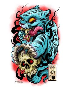 Sick skulls and blue tiger draeing by Neo Tattoo, Hannya Tattoo, Mask Tattoo, Tattoo Set, Tiger Tattoo, Foo Dog Tattoo Design, Tattoo Designs, Tattoo Sketches, Tattoo Drawings