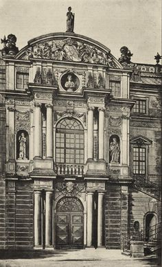 Architecture Antique, German Architecture, Classic Architecture, Historical Architecture, Architecture Details, Dresden, Rendering Drawing, Building Sketch, Stencil Painting