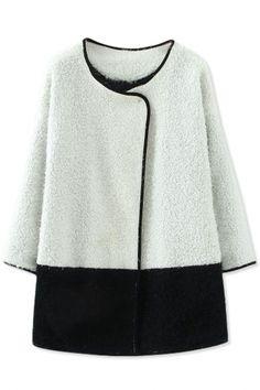 Simple Black White Lamb Wool Coat
