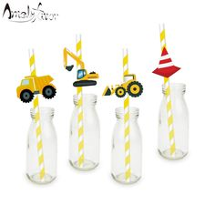 Construction Trucks Straw 20PCS Paper Straws Birthday Party Festive Supplies Decoration Paper Drinking Straws Holiday Straws-in Straws from Home & Garden on Aliexpress.com | Alibaba Group