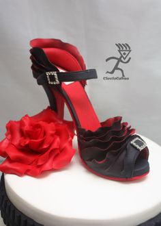 Edible Two Toned Ruffled Stiletto with Rose, Stripes & Pleated Ribbon