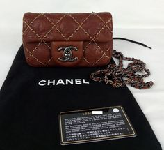 100% Authentic CHANEL Beaded Wallet On Chain Cross Body Mini Bag Brown NEW #CHANEL #WalletontheChainCrossBody