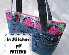 Evening Denim Bag Upcycled Denim Clutch Purse Sashiko Boro | Etsy Purse Patterns Free, Pdf Sewing Patterns, Free Sewing, Diy Purse, Clutch Purse, How To Make Purses, Tote Tutorial, Denim Bag, Lining Fabric