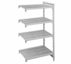 """Cambro CSA51366480 36-in 5-Shelf Add-On Shelving Unit, 21 in D x 64 in H, Each by Cambro. $291.73. Cambro CSA51366480 36-in 5-Shelf Add-On Shelving Unit, 21 in D x 64 in H. Camshelving Add-On Unit, 21"""" W x 36"""" L x 64"""" H, 5 shelf, includes: two posts, 1 set of post connectors, traverses & vented shelf plates, speckled gray, NSF."""