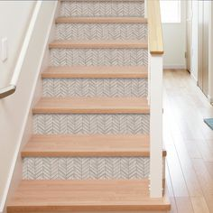 Chevron Distressed Wood x PVC Peel & Stick Mosaic Tile in Beige - Popular Tile Stairs, Wood Stairs, Carpet Stairs, Wall Carpet, Tiled Staircase, Staircase Landing, White Staircase, House Stairs, Stairs