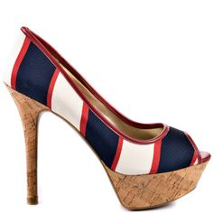 Nanci 2 - Red Multi Fabric by Guess Shoes Blue Heels, White Heels, Guess Shoes, Me Too Shoes, Pump Shoes, Pumps, Thing 1, Pretty Shoes, Awesome Shoes