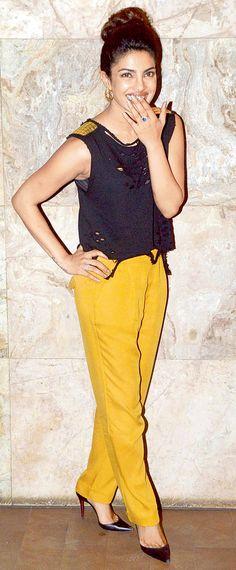 Priyanka Chopra seen at the special screening of 'Mary Kom'.