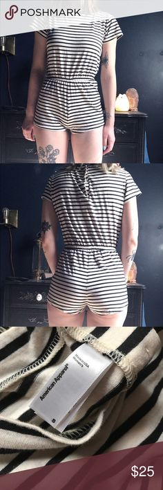 American Apparel Striped Jersey T-Shirt Romper This romper has never been worn except to try on! It's so comfy and I would love to keep it, but it's just the slightest bit too small for me. American Apparel Dresses Mini