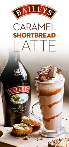 Indulge with a different kind of latte - topped with whipped cream, shortbread & caramel! In a glass, pour oz coffee, 2 oz Baileys Original Irish Cream, and hot milk. Top with whipped cream and shortbread pieces. Drizzle with caramel sauce. Baileys Irish Cream, Irish Cream Drinks, Baileys Original Irish Cream, Fun Drinks, Yummy Drinks, Yummy Food, Mixed Drinks, Beverages, Milk Shakes