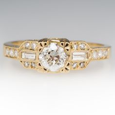 Old+Euro+Diamond+Ring+w/+Accents+18K+Yellow+Gold $3599