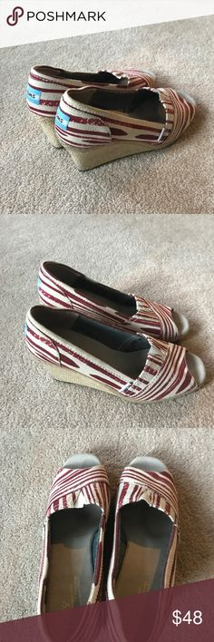 Toms Red Wedges Great Condition! Little wear Toms Shoes