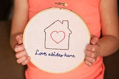 Love abides here hoop art family love house by SentimentalSundays