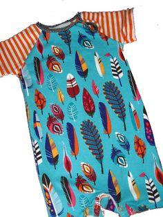 zomer jumpsuit van Hamburger Liebe fly met oranje gestreepte mouwen, patroon Onion 10020