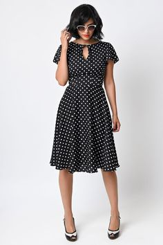 LOVE this style! But I DON'T need anymore black with white polka dot, retro dresses. Already own 2. lol