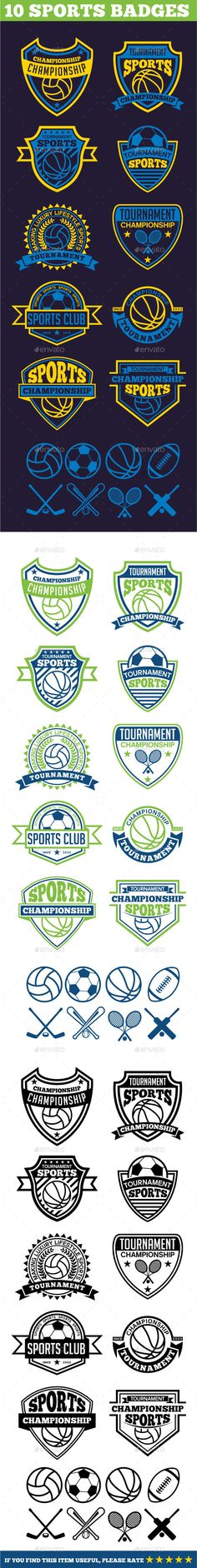 10 Sports Badges #design Download: http://graphicriver.net/item/10-sports-badges/11996659?ref=ksioks