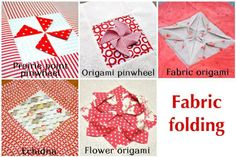 Prairie point pinwheel Origami pinwheel Fabric origami Echidna Flower origami These fabric manipulations are part of a quilt.The quilt has 25 blocks. Each block is made out of a centre 5 inch squa...
