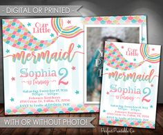 Mermaid Birthday Invitation, Mermaid Invitation, Mermaid Birthday Party Invitation, Mermaid Invite, Teal Pink Gold, Girl Mermaid Tail #602 by PerfectPrintableCo on Etsy