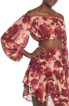 The oversized, abstract blooms are so pretty on this For Love And Lemons matching set.
