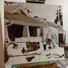 Work in Progress - West Asheville painting by Chris Lockhart (limeade Studio) -- grisaille layer oil paint using burnt umber with lead white and titanium white.