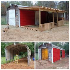 This is our new barn that started as a carport. Most all of the lumber is from reclaimed pallets and boxes. The 12 x 24 lean to was also framed with mostly remained lumber. Horse Barn Plans, Horse Barns, Horses, Goat Barn, Farm Barn, Goat House, Horse Shelter, Homestead Farm, Barns Sheds