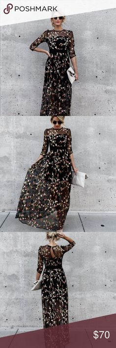 Call it Love Embroidered Maxi Dress New dress, never worn. This is the information from the website. This beauty is simply breathtaking in a black mesh fabrication that has perfectly placed embroidered florals to contrast. The 3/4 sleeves and sheer full length silhouette provides just the right amount of coverage! So flattering with an empire waistline! This maxi is ideal for your next wedding or engagement photos! Hidden Back Zipper Keyhole button back Floral Appliques Lined in front bodice…