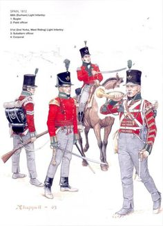 BRITISH ARMY - Spain, 1812 - 61th Light Infantry (Durham) & 51th (2nd York, West Riding) Light infantry