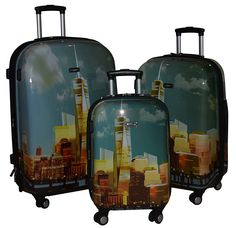 Kemyer 788 Vintage World Series Lightweight 3-PC Expandable Hardside Spinner Luggage Set * Read more  at the image link.