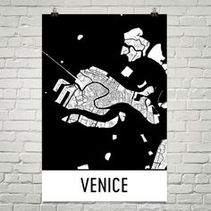 Venice Italy Map, Art, Print, Poster, Wall Art From $29.99 - ModernMapArt