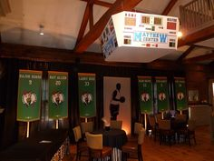 Basketball arena theme bar mitzvah with celtics banners and custom jumbotron for a Bar Mitzvah in Salem MA by The Prop Factory, via Flickr