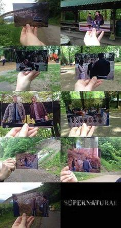 I love how most of the pictures are darker than the actual place itself. Well that's Supernatural for you *shrugs* Sam Winchester, Winchester Brothers, Mark Sheppard, Misha Collins, Jensen Ackles, Jared Padalecki, Impala 67, Supernatural Memes, Supernatural Birthday
