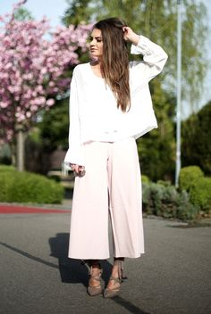 spring outfit, summer outfit, night out outfit, spring work outfit, summer work outfit, office outfit, street style, street chic style - white bell sleeve top, blush culottes, grey lace up heels