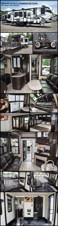 2016 GRAND DESIGN MOMENTUM 350M Fifth Wheel Toy Hauler. This 350M has the luxury and space you desire when taking on the great outdoors featuring triple slides, one and a half baths, and 11' of garage space, plus a loft bed too! When the toys are removed there are happi-jack beds with dual roll-over sofas for added seating and sleeping space while camped. There is also a half bath beneath featuring a toilet and sink for added convenience when you come in from a fun filled day.