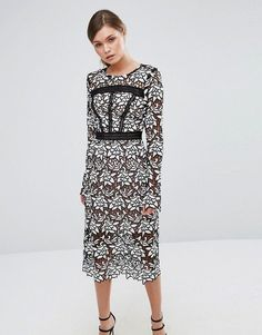 True Decadence Premium Lace Midi Dress with Laddering Detail - Black Wedding Outfits For Women, Lace Midi Dress, Midi Dresses, Party Dresses, Tall Dresses, Asos, Calf Length Dress, Smart Outfit, Robes Midi